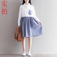 8237#2018年春季新款清新文艺复古条纹长袖衬衫连衣裙