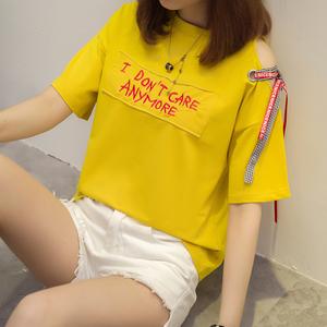 夏季韩版露肩绑带个性字母绣花贴布宽松短袖t恤女上衣服潮2501