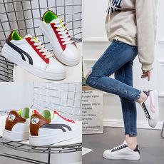 贺氏女鞋女式运动风单鞋小白鞋新款 拼色设计 左右潮流鞋 INS爆款