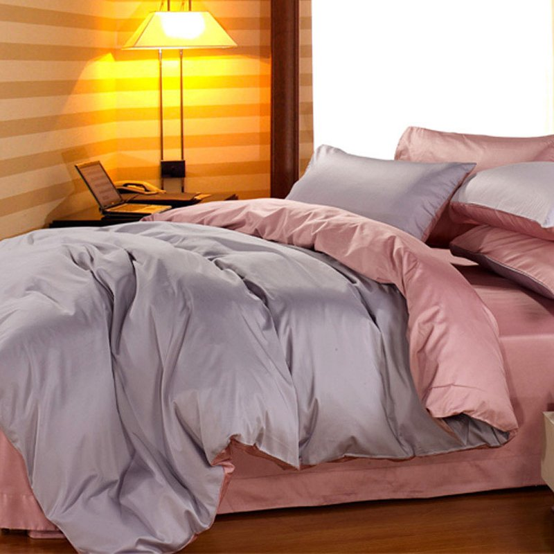出口欧美60支全棉纯色长绒棉贡缎四件套简约纯棉床单床笠床上用品