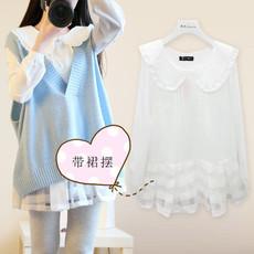 实拍2018春季新款韩版孕妇两件套毛衣马甲+娃娃领甜美带裙摆衬衣
