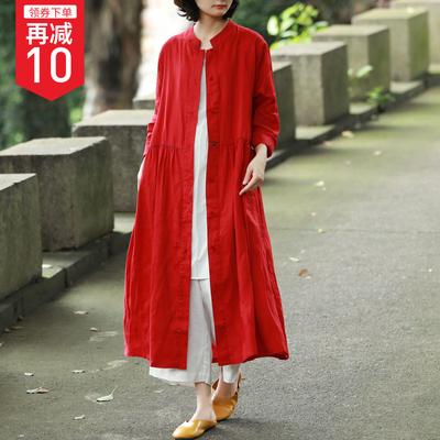 Đầu mùa thu đỏ linen áo gió dài coat dress thêu dòng khóa nữ gió quốc gia 2018 mùa thu mới Trench Coat
