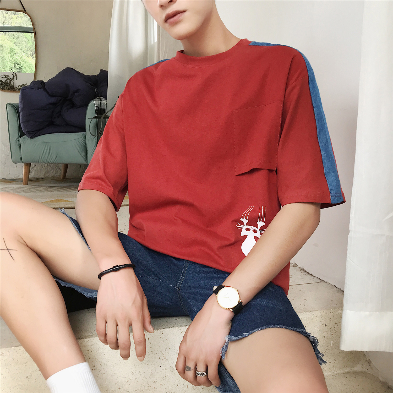 2018夏款 短袖T恤男士卡通印花P拼接潮流短t恤XZ408-2-S82-P35