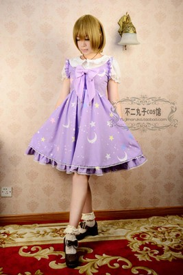 taobao agent cosplay anime women's clothing original daily fresh and sweet style/star print small ocean skirt dress