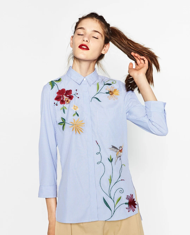869#衬衫女长袖2017春季新款女装上衣韩版绣花大码条纹衬衣