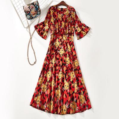 2018 mùa hè mới của phụ nữ new leopard print head in lỏng đầm voan 8404 váy đầm