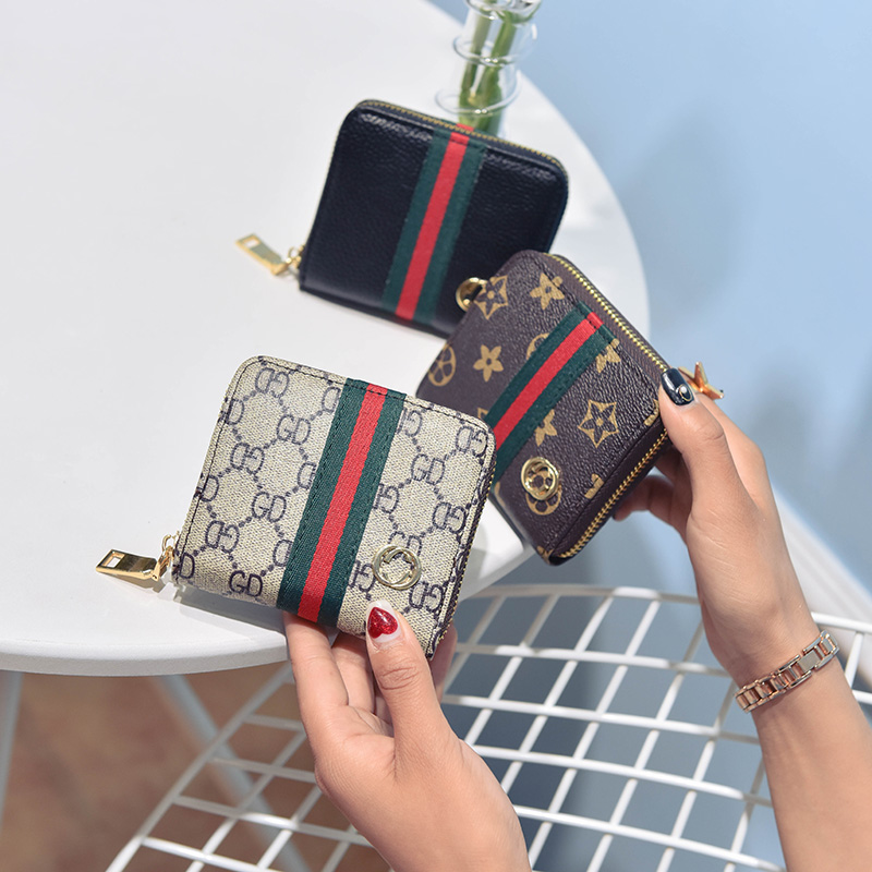 2017新款时尚新款钱包女手拿包卡片包短款拉链钱包女包彩条手包女