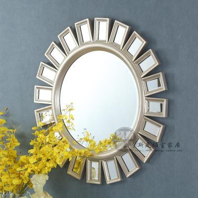 玄关镜实木太阳镜梳妆镜金色银色会所别墅样板