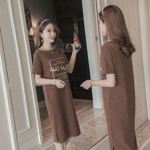 2020新款夏季韩版短袖开叉中长款一字领t恤裙子时尚连衣裙女春装