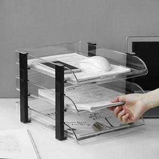 Прозрачный файл сиденье три пластик горизонтальный Рамка студент рабочий стол файл разбираться данные хранение полка стенды Корзина многодисковая