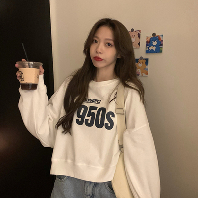 taobao agent French loose thin short sweater women's tide ins spring and autumn 2021 new long-sleeved early spring white top coat