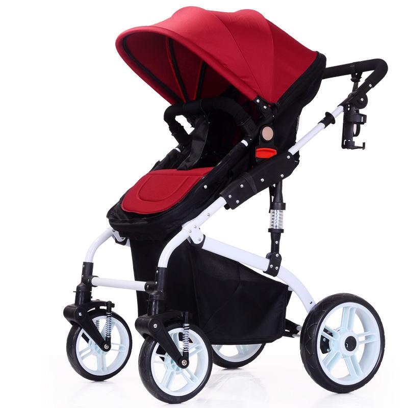 婴儿推车高景观婴儿车可坐可躺折叠双向180度纯平躺睡篮可拆卸