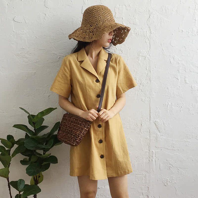 Hàn Quốc chic văn học mùa hè retro phù hợp với cổ áo đơn ngực khóa vành đai thắt lưng là mỏng ngắn tay đầm nữ