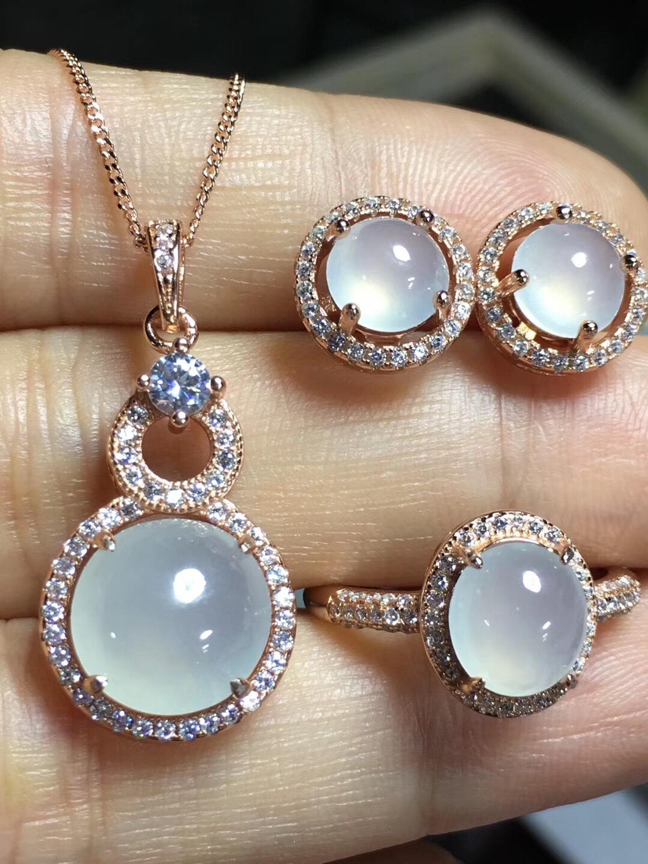 s925银镶嵌 缅甸翡翠a货蛋面三件套 戒指耳钉吊坠 冰种玉石珠宝