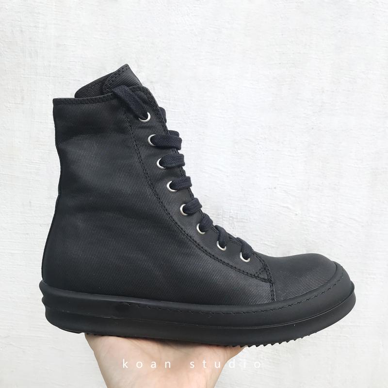 KOAN tự tạo phản hồi đặc biệt Seiko phó dòng tất cả màu đen sáp cao giày ren đôi cao gót đế dày TPU - Giay cao