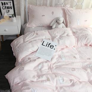 卡通双层纱婴儿裸睡全棉四件套
