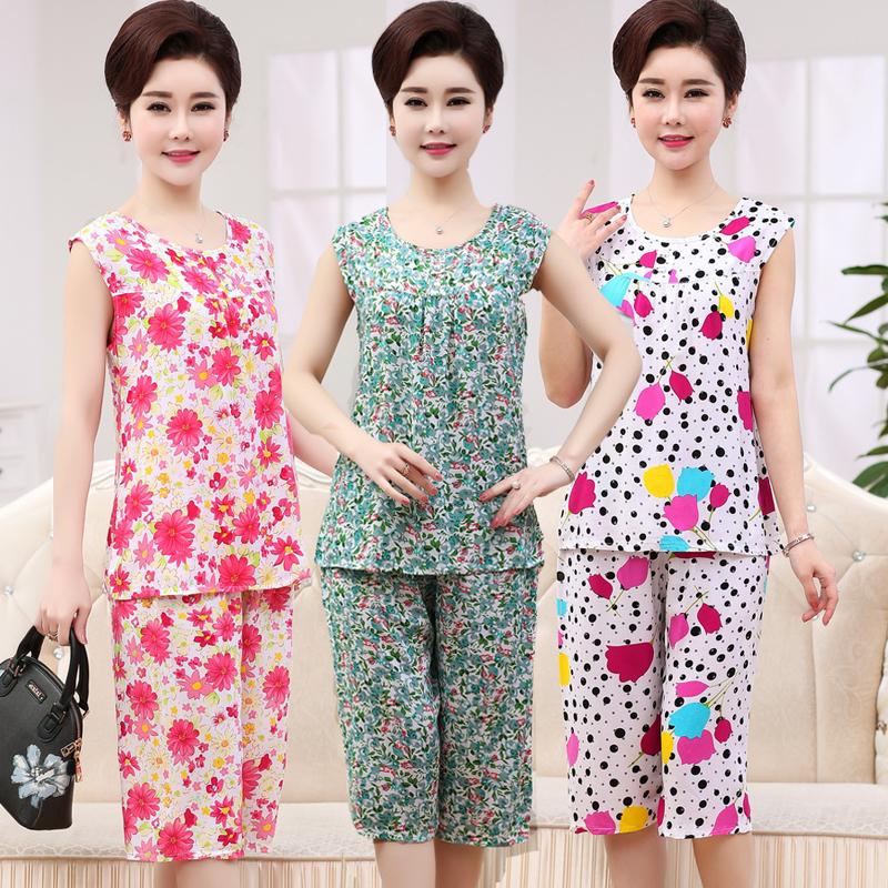 Phụ nữ trung niên của mùa hè bông lụa phù hợp với quần áo nhà mẹ cài đặt không tay đồ ngủ cotton mùa hè lỏng hai mảnh