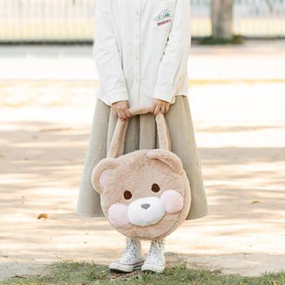 taobao agent Japanese soft cute cartoon bear head handbag girl soft sister hand bag lolita plush bear shoulder bag