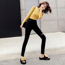 黑色牛仔裤女春秋2019新款韩版高腰弹力紧身显瘦九分破洞小脚裤子