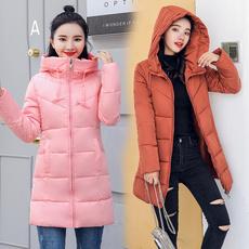 实拍2018新款羽绒服女韩版中长款连帽百搭学生大码修身棉衣外套