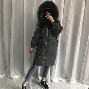 2018 mới của Hàn Quốc phiên bản của chống mùa xuống áo khoác cổ áo lông thú lớn nữ phần dài lỏng dày lên trên đầu gối xuống áo khoác giải phóng mặt bằng
