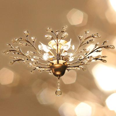 美式乡村铁艺水晶吸顶灯北欧轻奢餐厅卧室小客
