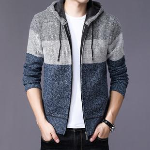 男士加厚针织外套毛衣开衫连帽上衣服男装