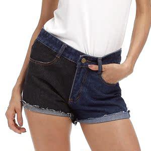 實拍 牛仔褲大碼女裝歐美eBay速賣通亞馬遜外貿卷邊休閑短褲2217