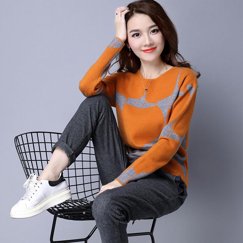 2018年秋冬新款大码宽松韩版毛衣女短款套头打底针织衫百搭羊毛衫