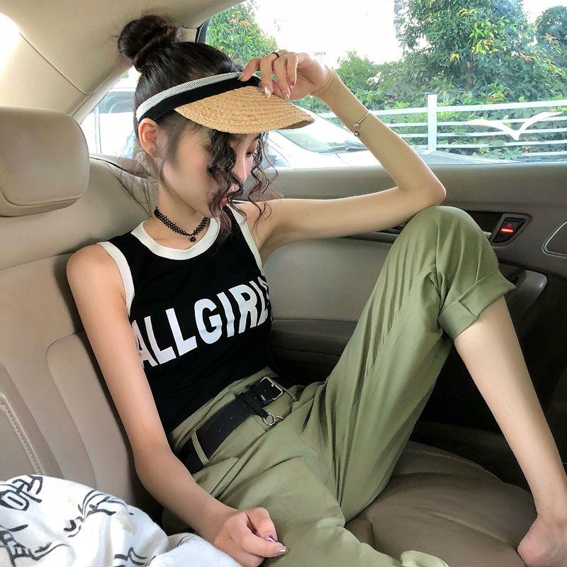 Đặt nữ mùa hè 2018 mới Hàn Quốc thư vòng cổ vest top + cao eo lỏng chín điểm quần + vành đai