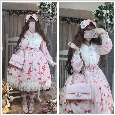 taobao agent Funny sauce original Lolita strawberry dessert melts your heart pink lace long-sleeved doll collar dress