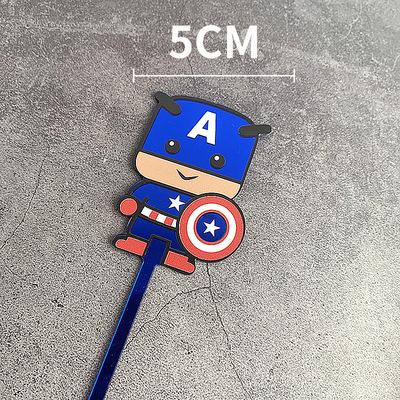 新款彩色Q版美国队长亚克力蛋糕装饰