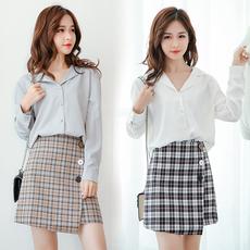 实拍 秋冬新款韩版超火格子包臀裙高腰A字不规则显瘦学生半身短裙