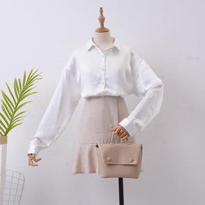 H ¥ 2 Mùa Thu mới dài tay cardigan đơn ngực ve áo màu rắn áo sơ mi Hàn Quốc thời trang hoang dã của phụ nữ áo sơ mi