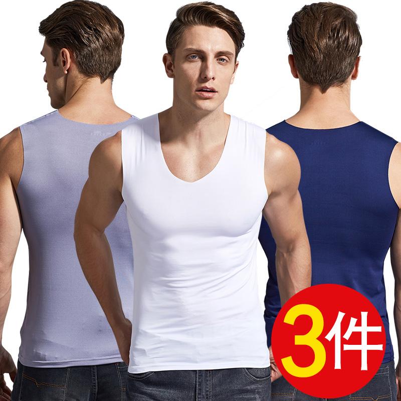 3 miếng băng lụa liền mạch của nam giới vest mỏng mỏng rào cản thể thao không tay t- shirt dưới phương thức áo nhanh chóng- sấy khô