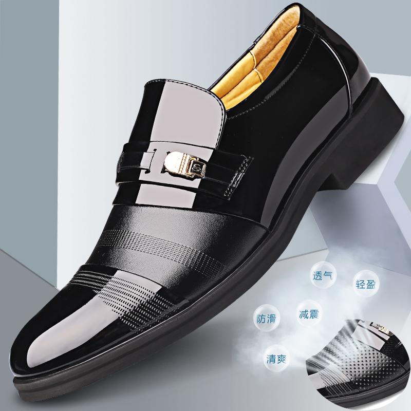 新款皮鞋男士真皮商务正装休闲韩版春秋内增高男鞋英伦潮流黑色鞋