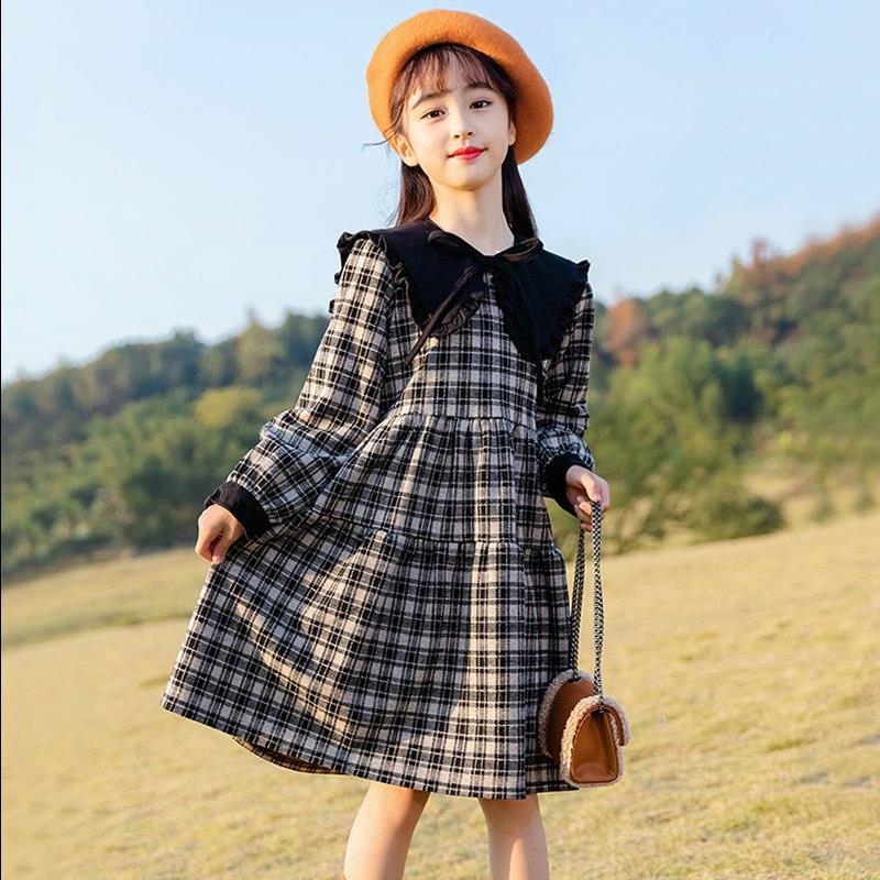 儿童春秋季洋气时尚女童格子连衣裙