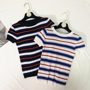 Sọc T-Shirt ngắn tay nữ 2018 mùa hè mới của Hàn Quốc phiên bản của mỏng giảm béo vòng cổ chic áo sơ mi áo len