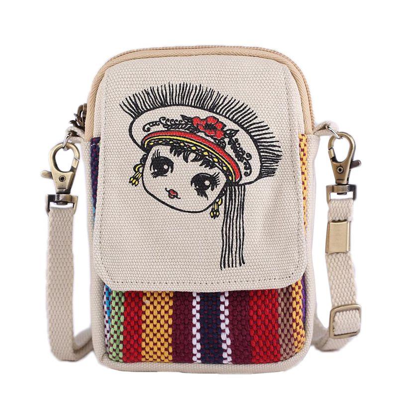 Túi điện thoại di động nữ 2018 mới thời trang túi messenger vải đồng xu ví Hàn Quốc vải vai túi nhỏ túi xách