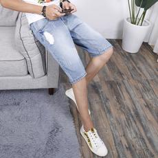 夏季薄款破洞五分牛仔裤男夏天浅色修身韩版潮流小脚休闲5分短裤