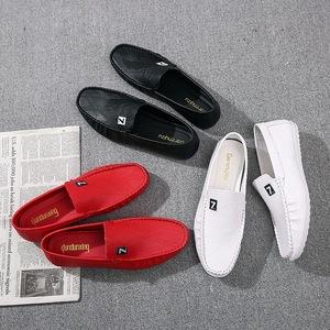 春季新款韓版潮流休閑鞋紅色懶人豆豆鞋駕車潮鞋社會小伙男鞋