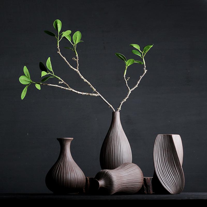 粗陶花瓶禅意中式花瓶复古花插干花花艺陶艺摆件小号瓷插花瓶