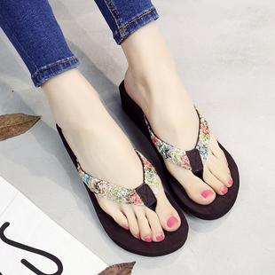 夏季新款人字拖女时尚夹脚坡跟外穿凉拖鞋
