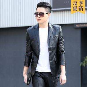 2018 mùa xuân và mùa thu da mới người đàn ông da của Slim Hàn Quốc phiên bản của đẹp trai phù hợp với da thanh niên phù hợp với áo khoác áo khoác thủy triều
