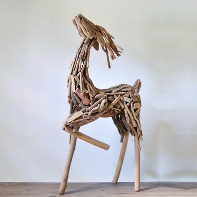 纯手工超大号实木鹿摆件家居客厅工艺品咖啡厅