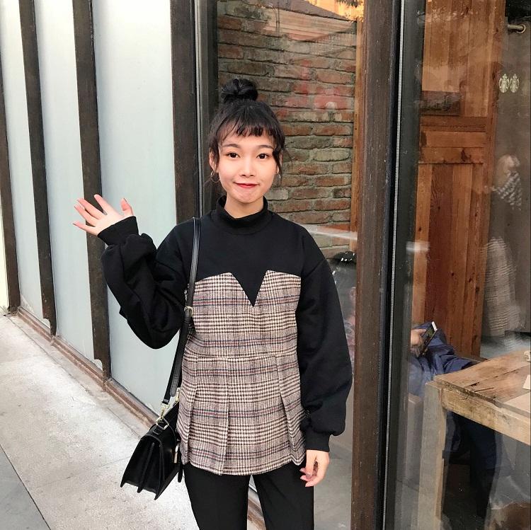 0805#实拍实价 韩版宽松加厚卫衣拼接套头上衣