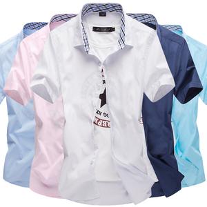 20%棉80%聚酯纤维纯色夏季短袖糖果色男士内里格纹衬衫801-P18