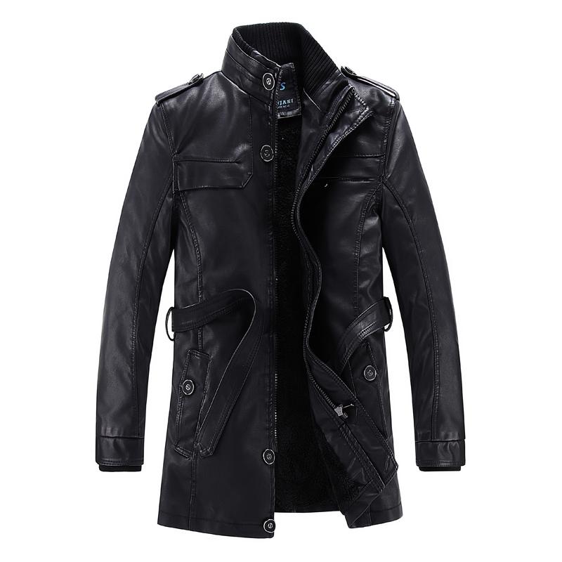 Mùa thu và mùa đông nam phần dài cộng với nhung da Hàn Quốc phiên bản của mỏng da áo gió áo khoác thanh niên đầu máy PU leather jacket triều