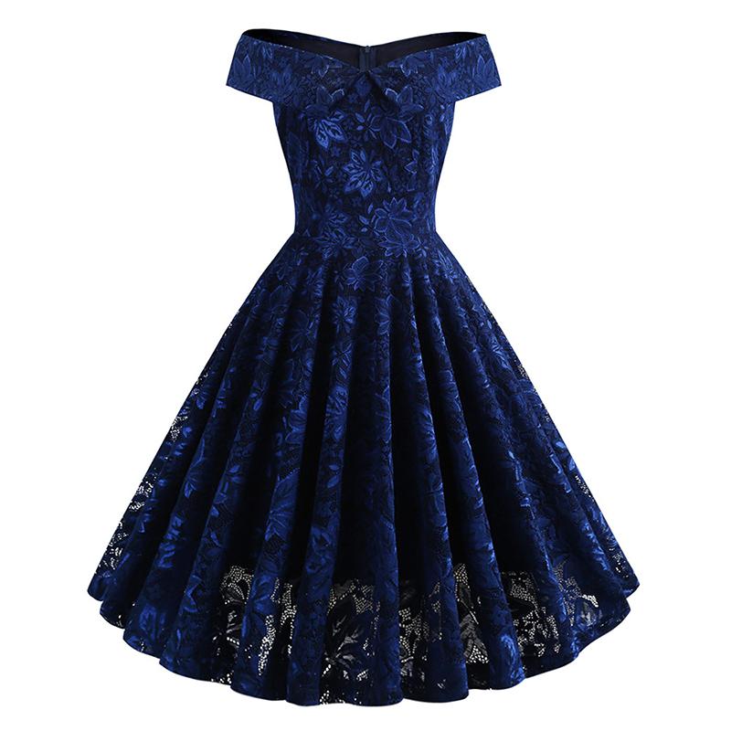 Lifu Floral Lace Elegant 1950s Dress Party Wedding Pink 裙子