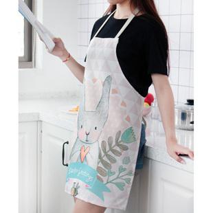 男女通用布艺防水围裙防油污卡通围裙罩